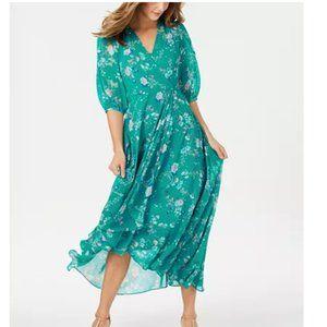 NWT Calvin Klein Floral-Print Faux-Wrap Maxi Dress